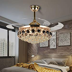 Ceiling Fan with Light, Chandelier Fan Light with Remote Control Retractable Blades Ceiling Fan 42 Inch for Living Room LED Lights Fixture Ceiling lights with Fan Stylish Furniture