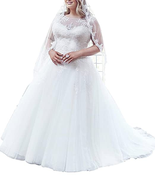 Dreamdress Women\'s Sheer Plus Size Wedding Dress Tulle Bridal Gown