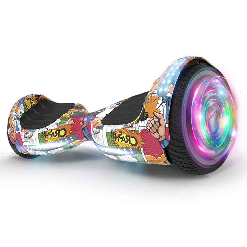 Hoverboard UL 2272 Certified Flash Wheel 6.5'' Wireless Speaker with LED Light Self Balancing Wheel Electric Scooter (Superhero)