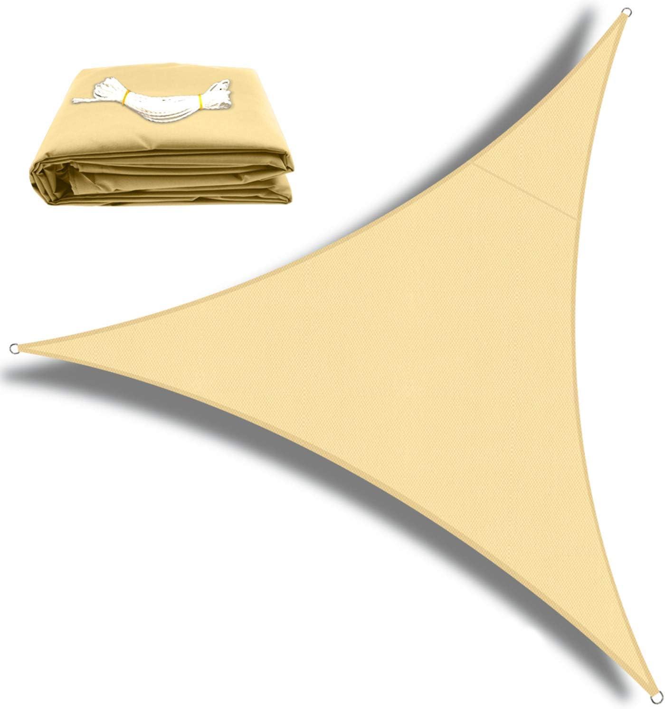 OKAWADACH Toldo Vela de Sombra Triangular 2 x 2 x 2m, Vela de Sombra Protección UV para Patio, Exteriores, Jardín, Color Beige