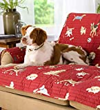 Plow & Hearth Protective Pet Friendly Furniture Cover with Non Slip Back – Quilted Cotton Face – Machine Washable – Dog Park Design – Approx. 65 W x 68 L Overall with Arms, Chair