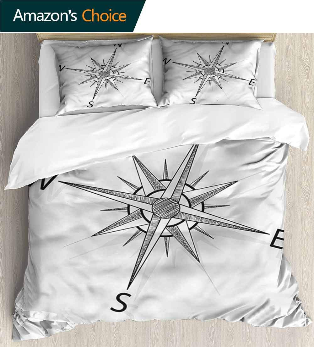 VROSELV-HOME 3 Pcs Duvet Cover Sets,Box Stitched,Soft,Breathable,Hypoallergenic,Fade Resistant 3D Print 100/% Polyester Fiber Quilt Cover 2-Pillowcases Compass Sailing Boat Pattern 68 W x 85 L