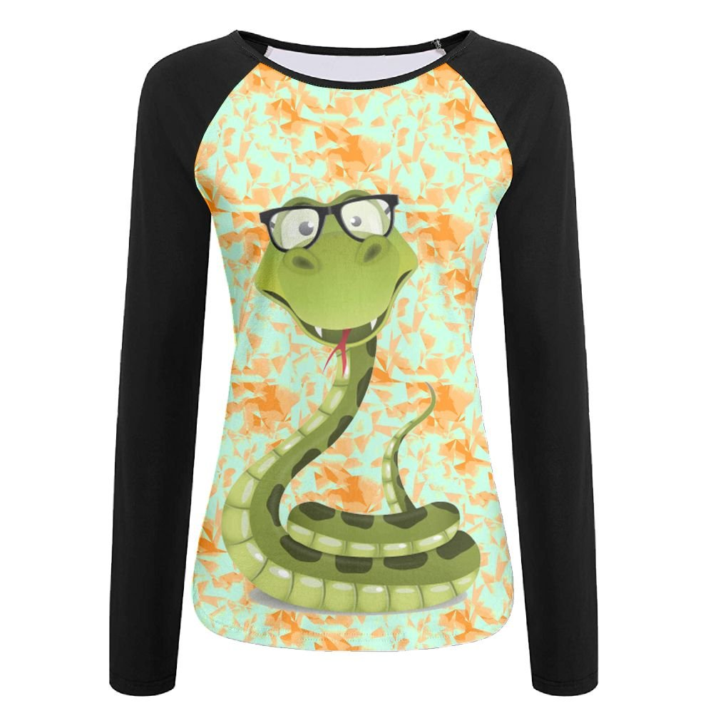 Women'sA Green Snake With A Sunglasses Printed Long Sleeve T Shirt Girls Tees Dress by GLSEY