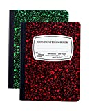 2-Pack Composition Notebook, 9-3/4'' x 7-1/2'', Wide Rule, 100 Sheet (200 Pages), Weekly Class Schedule and Multiplication/Conversion Tables - Colors: Red, Green, Yellow, Blue. (2-Pack, Random Colors)