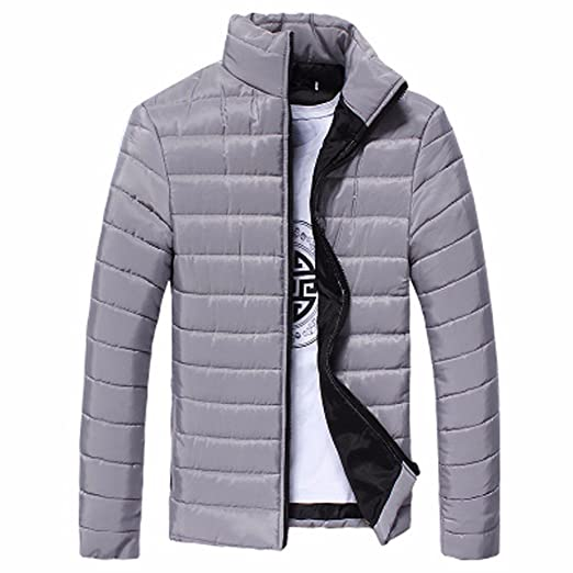 FTXJ Men Cotton Stand Zipper Warm Winter Thick Coat Jacket at Amazon Mens Clothing store: