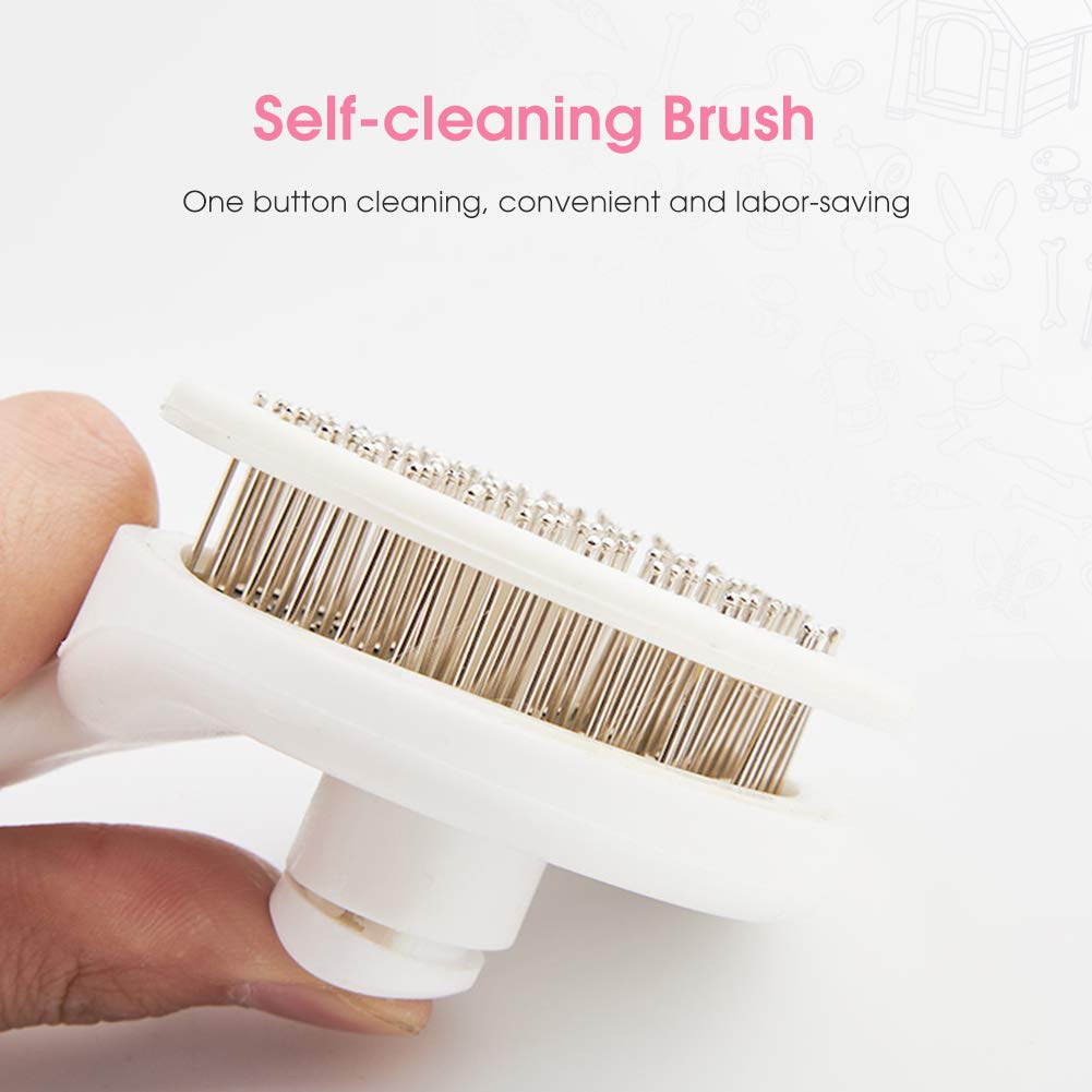 Dog Brush Cat Brush Dog Grooming Brushes Dog Hair Brush with Rounded Pin Comfortable Self Cleaning Pet Brush for Dogs and Cats with Long or Short Hair Blood Circulation Massage Skin-Friendly Pink
