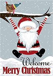 Texupday Welcome Merry Christmas Santa Bird Decoration Double Sided Winter Garden Flag Outdoor Yard Flag 12