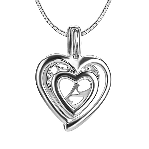 0eab90b12 Amazon.com: NY Jewelry 925 Sterling Silver Double Heart Pendants for Pearl,  Design Pearl Cage Pendants for Women Girls Gift DIY Jewelry Making: Jewelry
