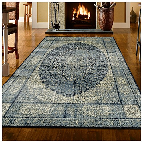 Superior s Emily Collection Area Rug, 10mm Pile Height with Jute Backing, Durable, Fashionable and Easy Maintenance, 6 x 9 – Blue