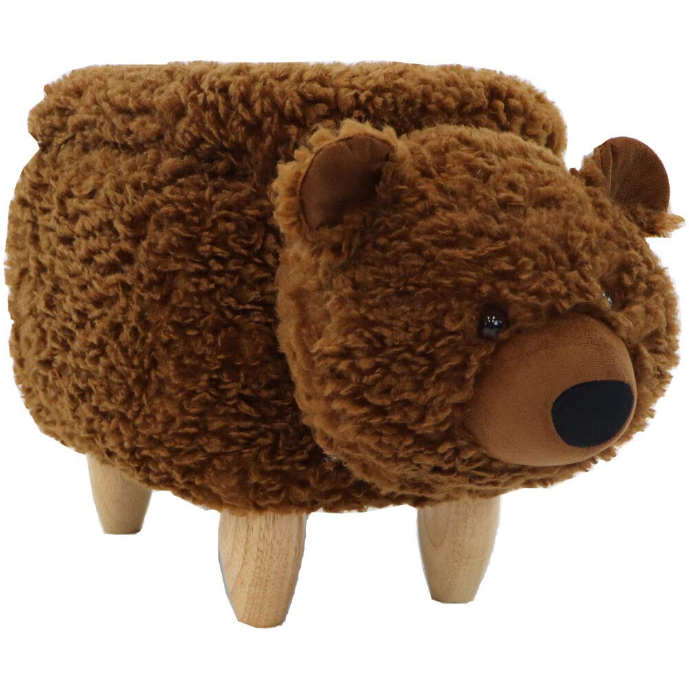 14-in. Seat Height Plush Brown Bear Animal Shape Ottoman - Furniture for Nursery, Bedroom, Playroom, and Living Room Decor