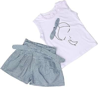 FAMILIZO Blusas de niñas, Bebés Fijan Los Niñas Pantalones Cortos De La Rejilla De La Camisa del PatróN De La Muchacha del Arco De Las Muchachas Camisa+Pantalones Cortos (90): Amazon.es: Ropa y