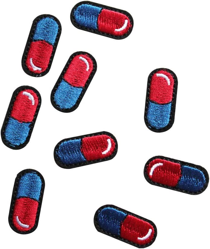 U-Sky Sew or Iron on Patches - Pills Patch for Backpacks, Schoolbag, Clothing - Pack of 9pcs - Size: 1.18x0.59 inch