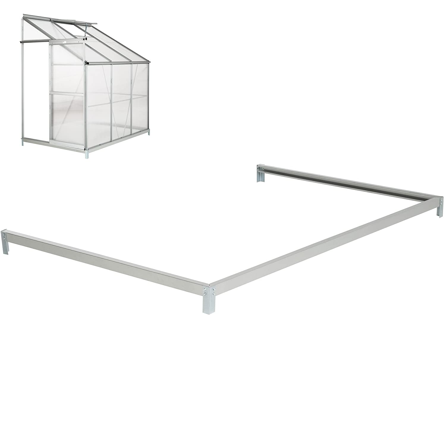 TecTake Lean to greenhouse base foundation 192x127x12 cm steel galvanized frame base fixation
