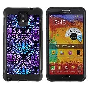Suave TPU Caso Carcasa de Caucho Funda para Samsung Note 3 / Purple Blue Black Pattern / STRONG