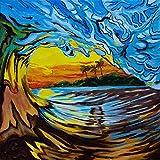 Sunset Crashing Wave Painting - Three Palms