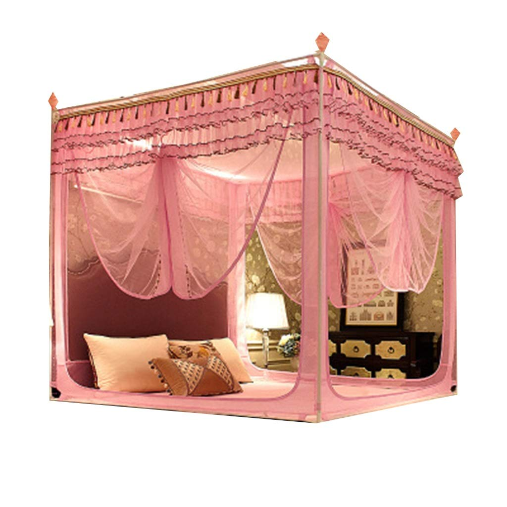 SUNNAIYUAN Square Top Encryption Palace Nets, Three Open Door Nets (Color : Pink)