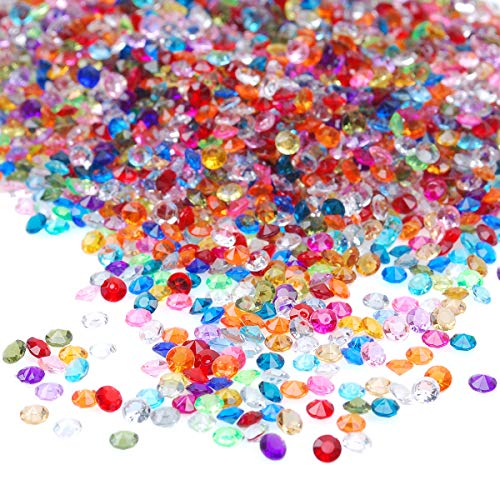 craftjoje 4.5MM 10000pcs Wedding Table Scattering Crystals Acrylic Diamonds Wedding Bridal Shower Party Decorations Vase Fillers (4.5mm, Multi)