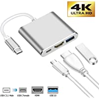 USB C to HDMI Adapter, IGUGIG 3-in-1 4K Type C to HDMI Multiport Converter with USB 3.0 Port and USB C Fast Charging Port Compatible with MacBook Pro/Chromebook Pixel/Projector/Monitor (Silver)