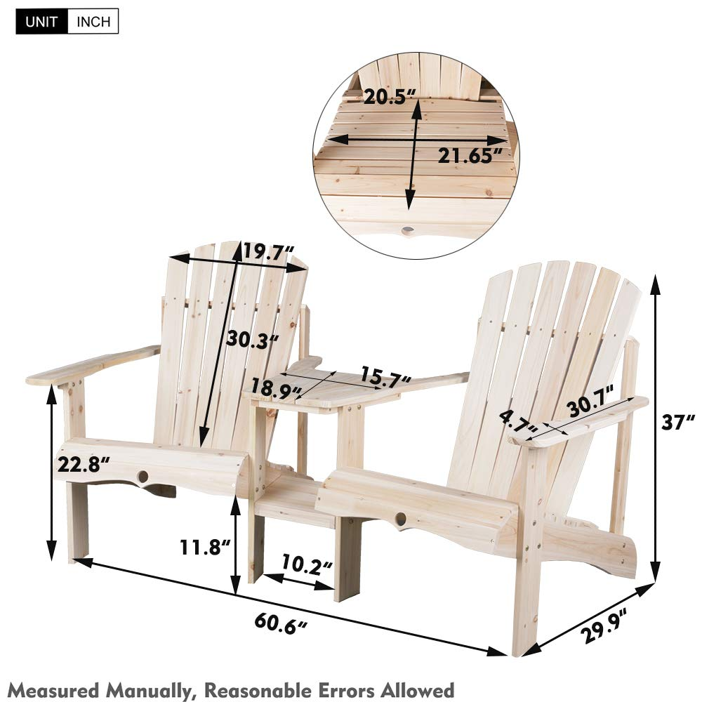 Natural Finish Cedar//Fir Log Tete-A-Tete kdgarden Outdoor Double Lounge Adirondack Chairs Loveseat Set with Table