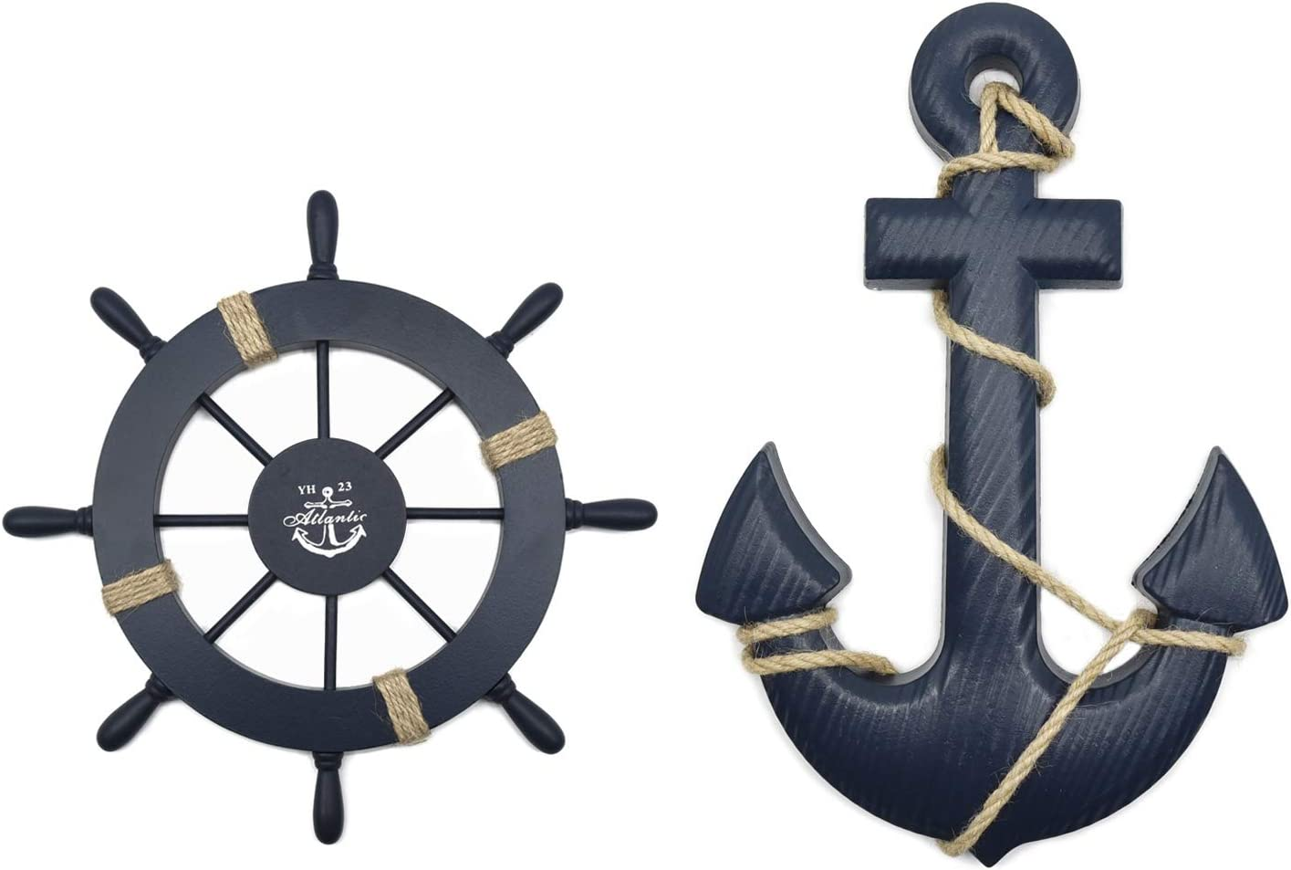 """FOREVERL 2 Pack 11"""" Nautical Beach Wooden Ship Wheel and 13"""" Wood Anchor with Rope Nautical Boat Steering Rudder Wall Decor Door Hanging Ornament Beach Theme Home Decoration (Dark Blue)"""