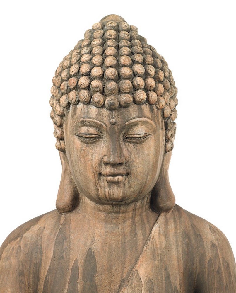 "Sitting Buddha 29 1/2"" High Light Sandstone Outdoor Statue"
