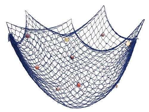 Dedoot Fishing Net Decorative, Mediterranean Style Fish Net Blue with Shells Fish Netting Decoration for Nautical Theme Party Home Wedding Wall Decor
