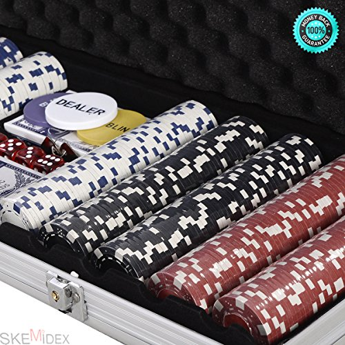 SKEMIDEX---500 Chips Poker Dice Chip Set 11.5 Grams Texas Hold'em Cards w/ Silver Aluminum Case & Placemat And casino poker chips And poker chips target Andcheap poker chips by SKEMIDEX