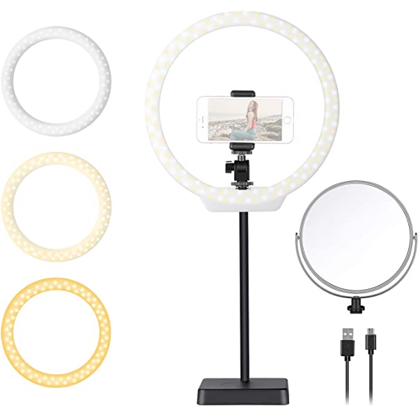 ZFD 10 Inch Dimmable LED Ring Light with Stand Mini Tabletop Ring Light with 3 Color Mode 11 Level Brightness for Live Stream Video Shooting Selfies