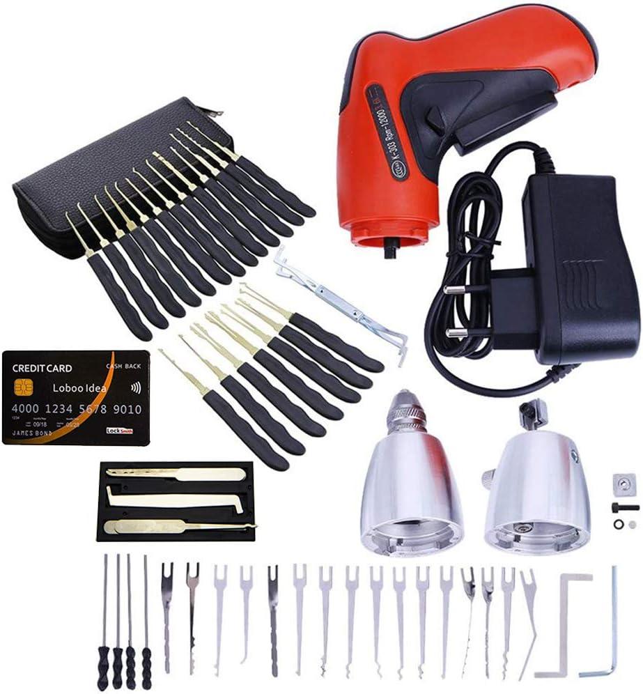 Loboo Idea - Juego con pistola de ganzúa eléctrica automática, 28 ganzúas de mano y 5 tarjetas de crédito para abrir cerraduras, herramientas de mantenimiento de cerraduras para cerrajeros