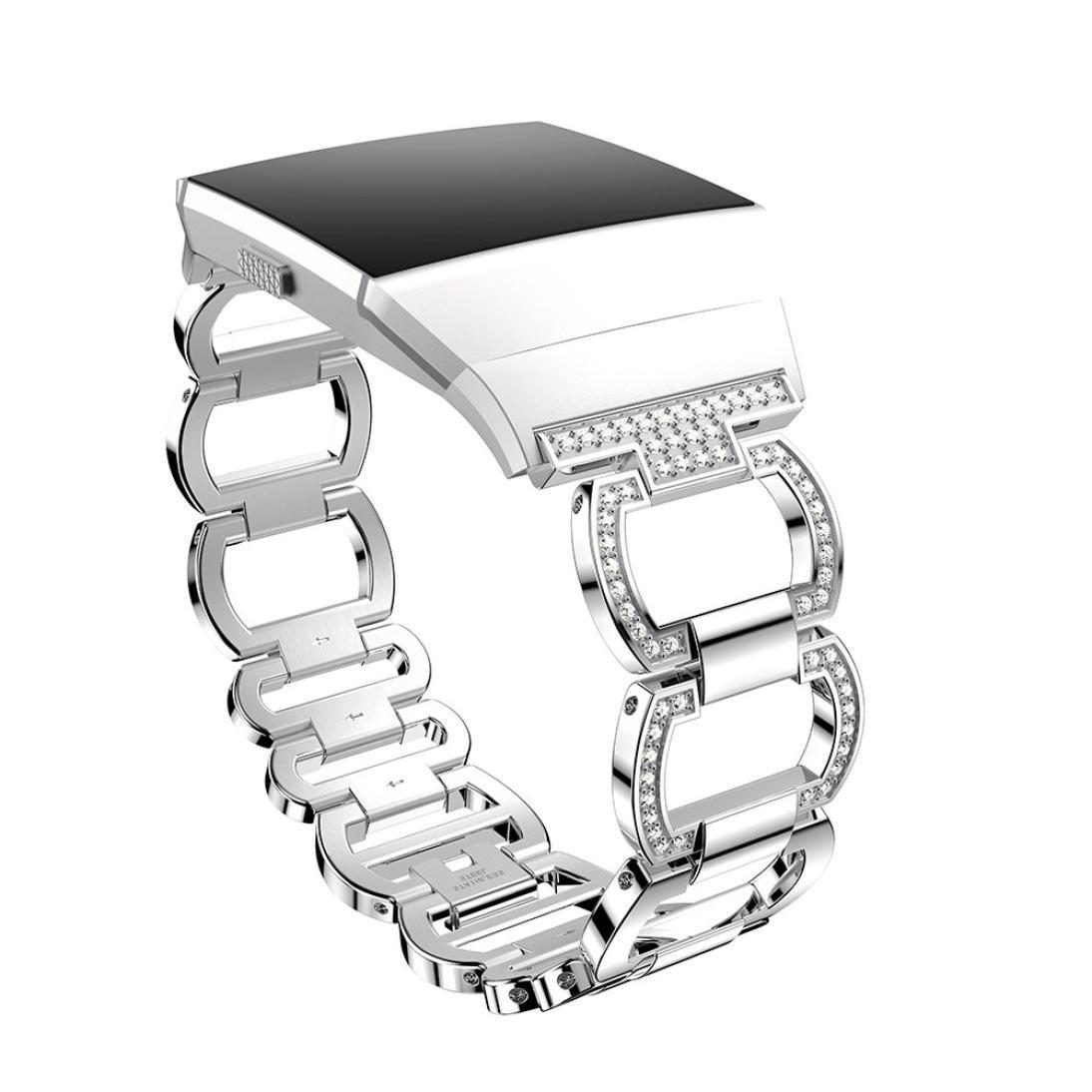 hp95 for Fitbit Ionic用時計バンドアクセサリー、( TM )ラグジュアリークリスタルダイヤモンドブレスレット交換ステンレス鋼ストラップFitbit Ionic  シルバー B07C3S4GGN