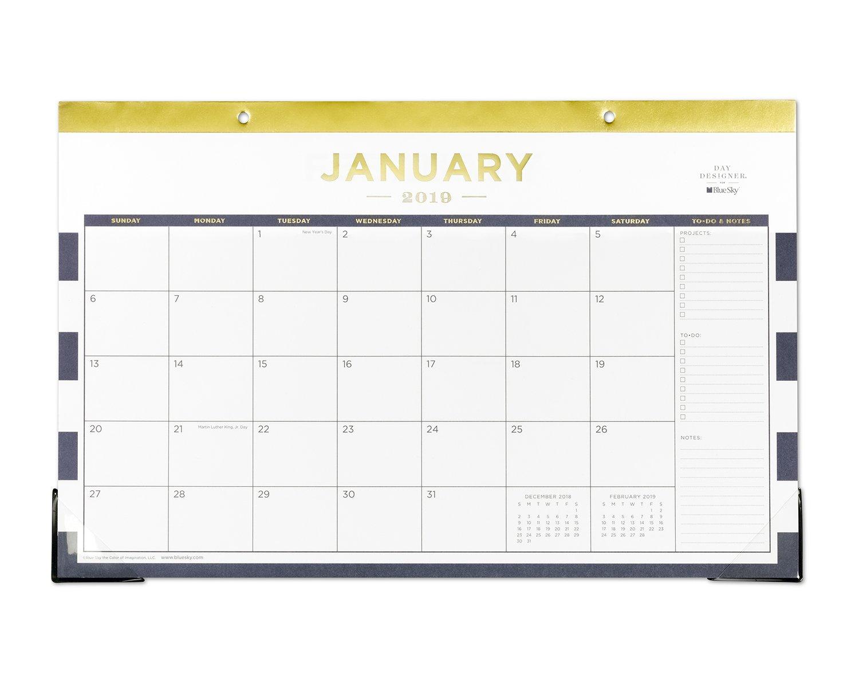 "Day Designer for Blue Sky 2019 Monthly Desk Pad Calendar, 17"" x 11"", Navy Stripe"