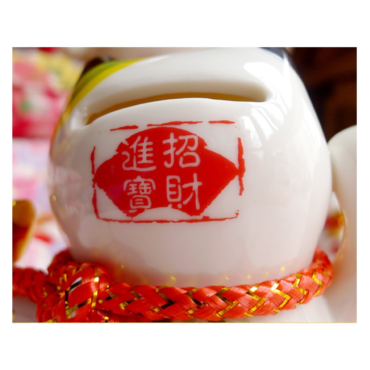 4 White Ceramic Maneki Neko Lucky Cat Coin Bank 4 PCS SET