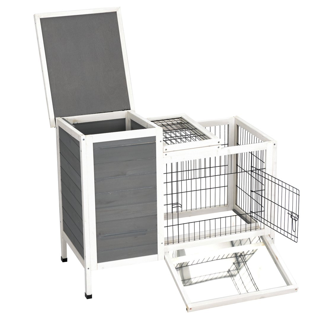 Good Life Wooden Outdoor Bunny Hutch Rabbit Cage Guinea Pig Coop PET House Gray & White Color PET502 by GOOD LIFE USA (Image #3)