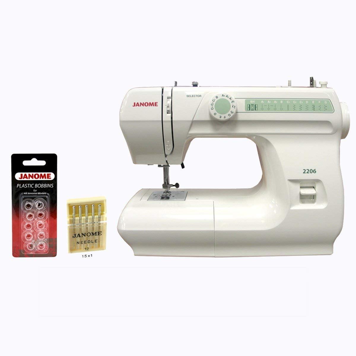 Janome 2206 máquina de coser de 6 puntadas de 860 spm, tamaño ...
