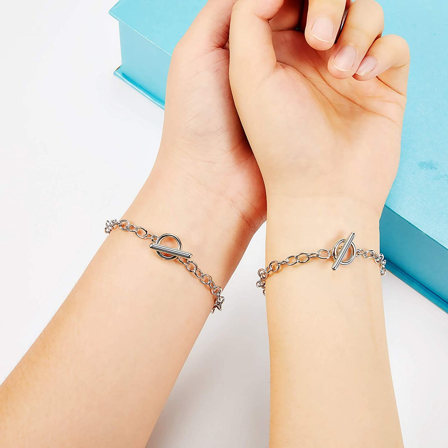 Silver 20 Pieces Chain Bracelets Stainless Steel Link Bracelet Round Link Chain Bracelets with OT Toggle Clasp Jewelry Bracelet Making Chain for Women Girls Christmas Birthday
