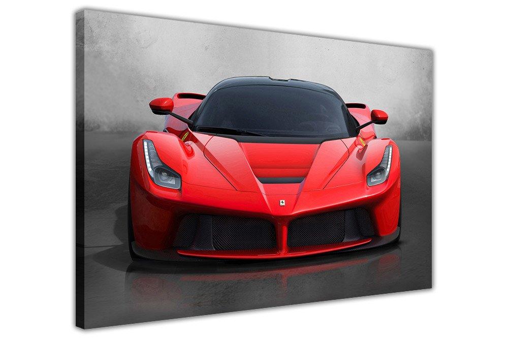 Tela su telaio da parete con stampa artistica della leggendaria auto sportiva LaFerrari rossa, Red, 01- A4 - 12 X 8 (30cm X 20cm) Canvas It Up