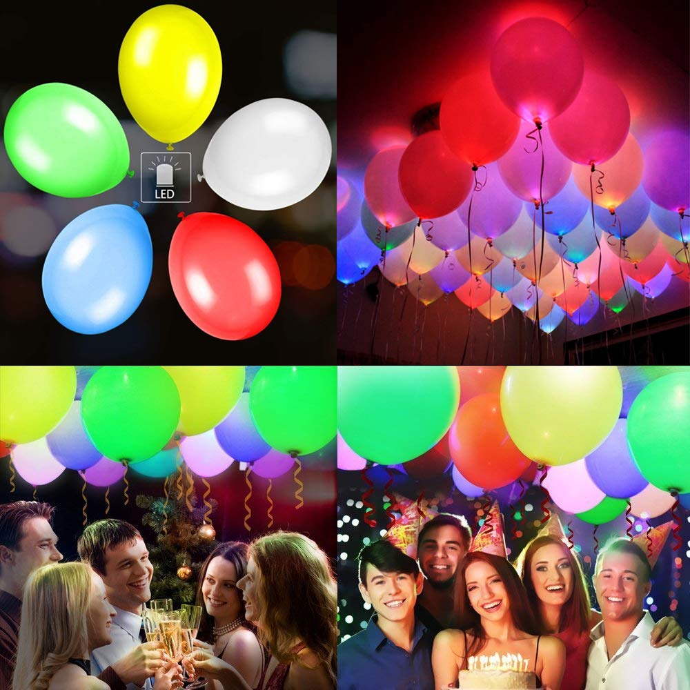 M.C.works 32 Pack Light Up Balloons Party LED Balloons Fun time, 8 Colors Balloon, Colorful Warm Light, Lasts 12-24 Hours Birthday, Wedding, Parties, 7 Blossom Clips & Ribbon Included.