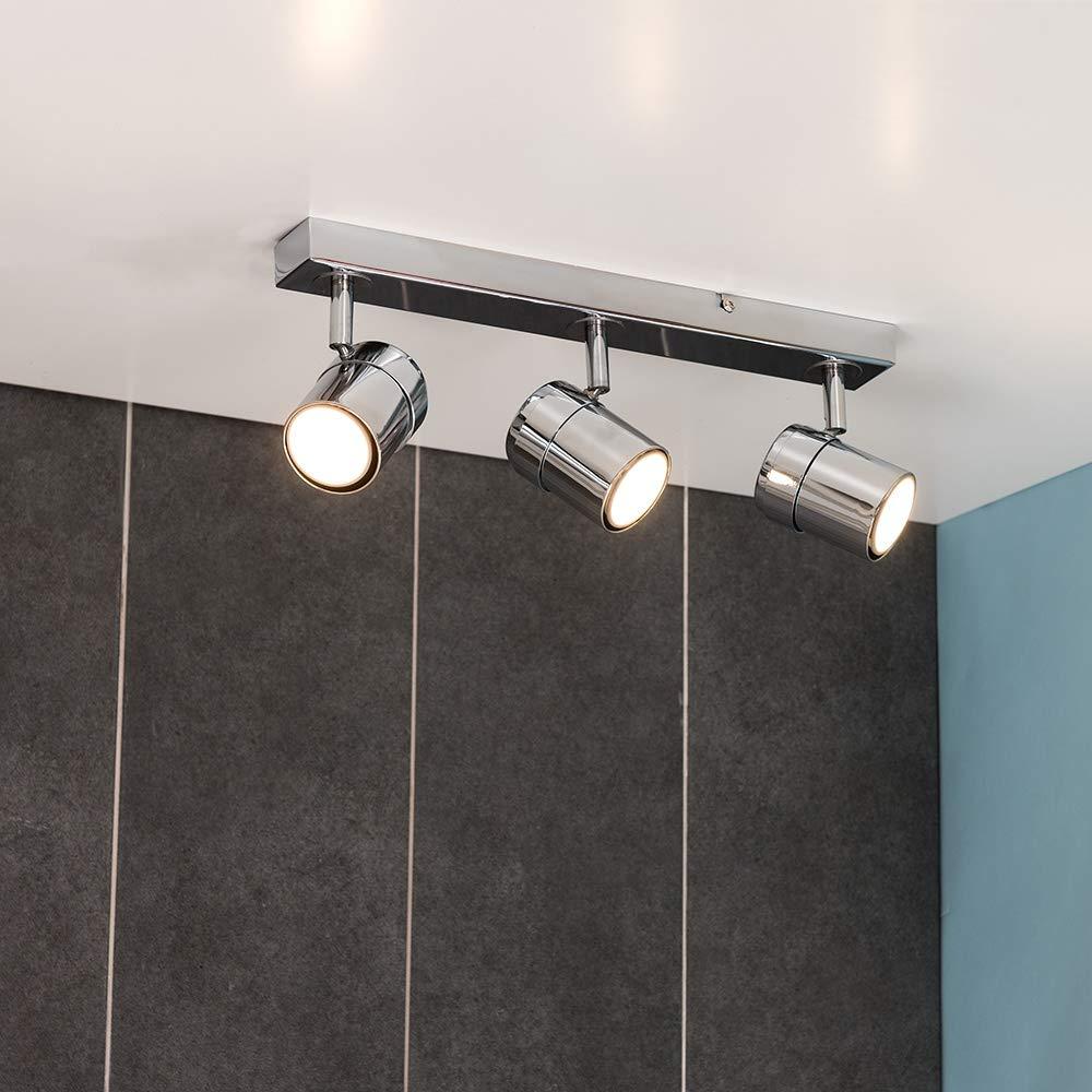 MiniSun – Plafón de techo con 3 focos – regleta de luz en cromo color plateado