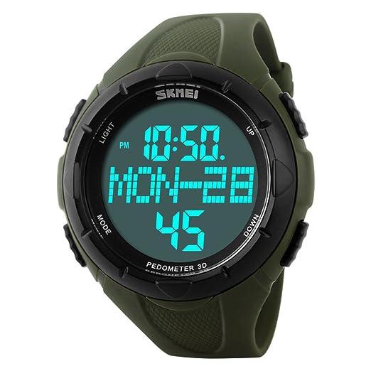 Relojes resistente al agua de los hombres/Polideportiva al aire libre natación paso contador tendencia reloj-A: Amazon.es: Relojes