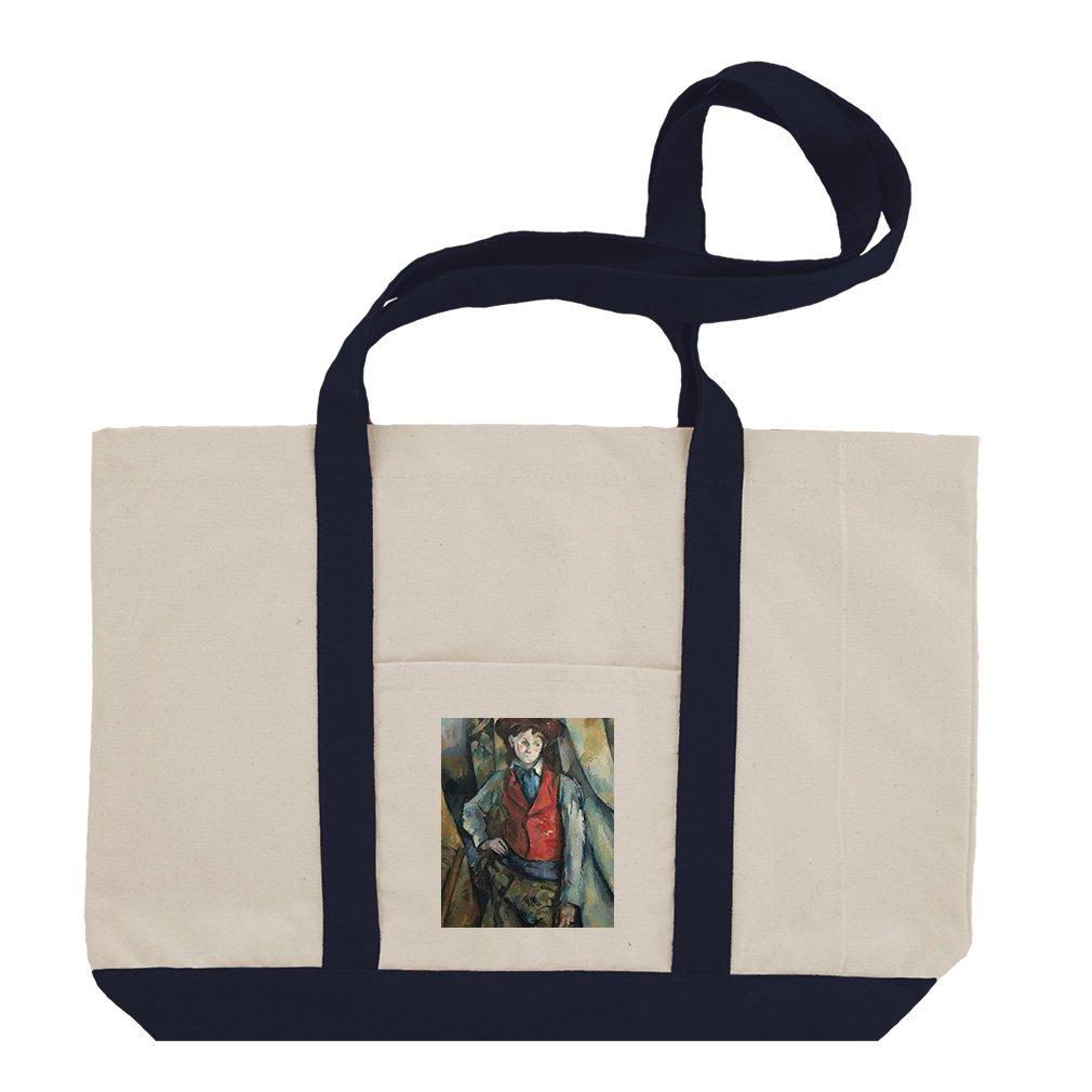 Boy In A Red Waistcoat (Cezanne) Cotton Canvas Boat Tote Bag Tote - Navy