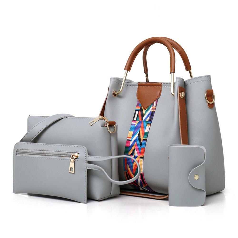 SJMMBB Broadband Satchel, Mother Bag, Bucket, Bag, Handbag, Wallet,Four Piece Suit,Gray