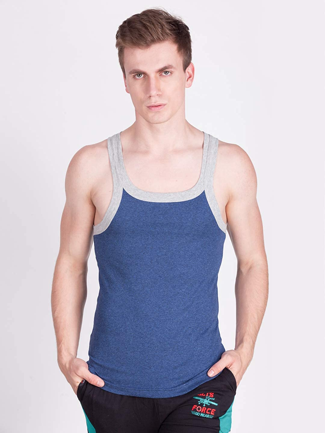 Force NXT Mens Multi-Colored Spirit Gym Vest Pack of 5