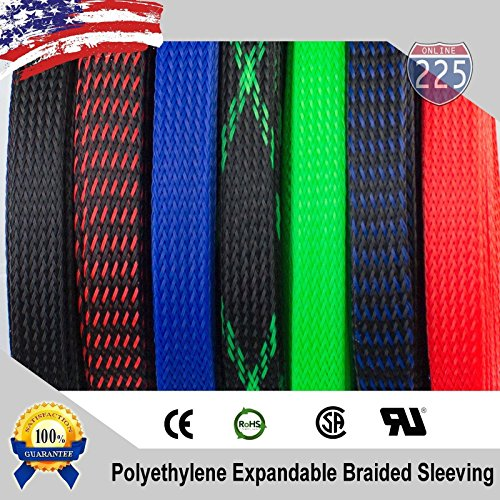 """5//8/"""" Black Red Expandable Wire Sleeving Sheathing Braided Loom Tubing US 10 FT"""