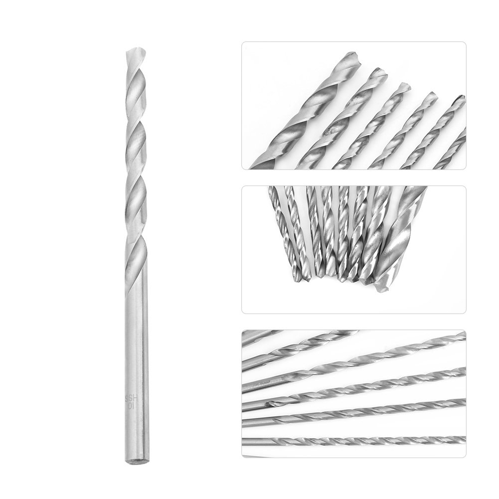 Walfront 8pcs HSS Extra Long Drill Bit Set Round Shank for Wood Aluminum Plastic 4-10mm