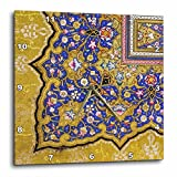 3dRose dpp_162530_3 Purple and Matte Gold Arabian Floral Pattern. Persian Style Flowers and Swirls. Arab Islamic Turkish-Wall Clock, 15 by 15-Inch