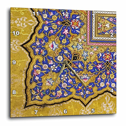 3dRose Purple & Matte Gold Arabian Floral Pattern. Persian Style Flowers & Swirls. Arab Islamic Turkish - Wall Clock, 10 by 10-Inch (DPP_162530_1) by 3dRose