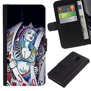 LASTONE PHONE CASE / Lujo Billetera de Cuero Caso del tirón Titular de la tarjeta Flip Carcasa Funda para Samsung Galaxy Note 4 SM-N910 / Sexy Cards Queen Hearts