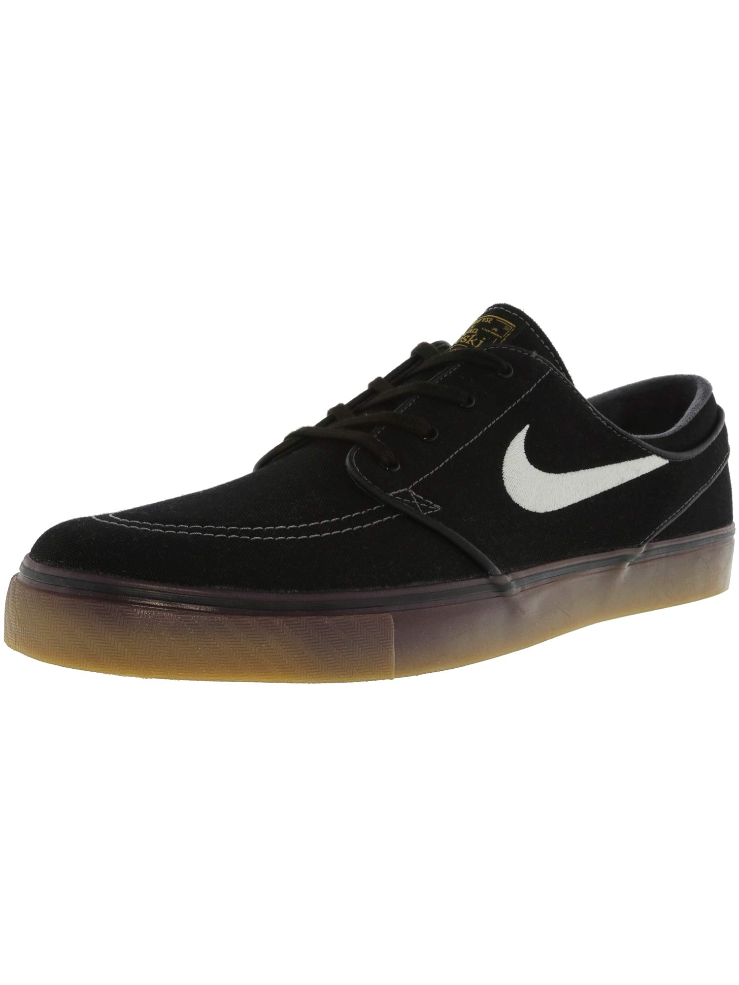 on sale 54c71 17a32 Galleon - Nike Mens Zoom Stefan Janoski Cnvs Skate Shoe Blk White Mtllc  Gld Gm Lght Br 8 D(M) US
