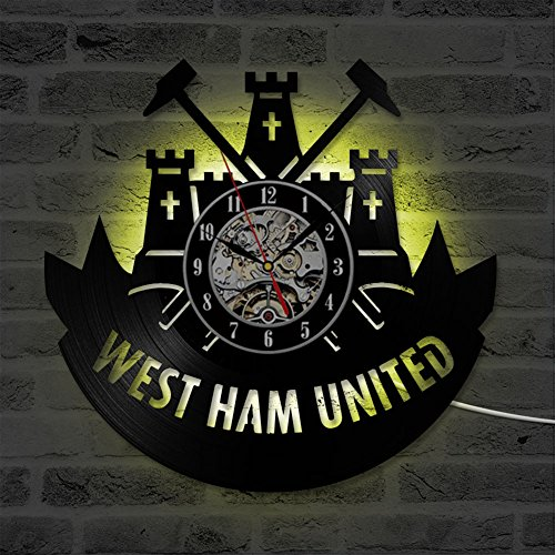 West Ham United Wall Clock Decor Home Ultra Silent LED Decorative 3D Wall Mounted Clock for Living Room Bedroom Restaurant/Ø: 30 cm