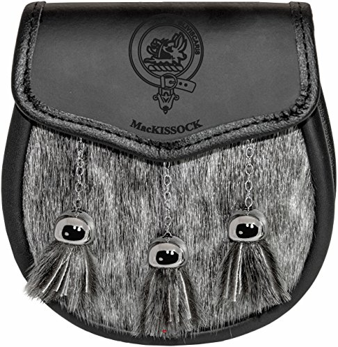 MacKissock Semi Sporran Fur Plain Leather Flap Scottish Clan Crest
